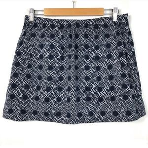 J. Crew Factory Printed Cotton Skirt Navy/White M